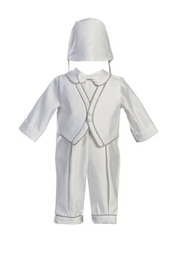 Lito Boy Christening Outfit - White Satin Christening Baptism Romper Set Accented with Silver Trim and Hat, White, 0-3 Months