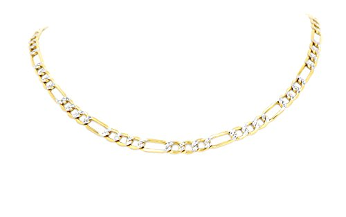 (Real 10K Two Tone Yellow & White Gold Hollow Figaro Chain Necklace 2MM (22 Inches))
