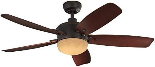Harbor Breeze Saratoga 48-in Oil Rubbed Bronze LED Indoor/Outdoor Downrod Mount Ceiling Fan