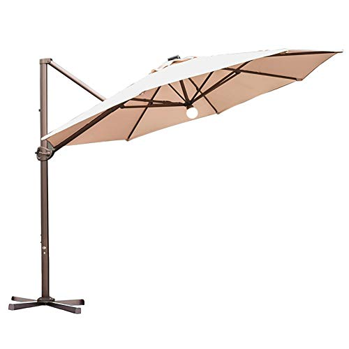 Abba Patio 11 Feet Offset Cantilever Solar Lights Patio Hanging Umbrella with Cross Base, Beige