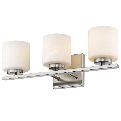 (Emliviar 3-Light Bathroom Vanity Light Fixture, Brushed Nickel Finish with White Frosted Glass Shade, 21002-3B)