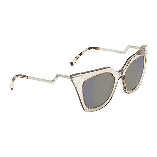 Fendi Women's Iridia Corner Accent Sunglasses, Trans Dove Grey/Khaki Blue, One ()