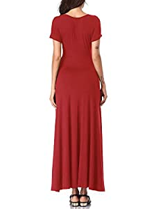 HUHOT Women Floral Short Sleeves V Neck A Line Unique Cross Wrap Summer Maxi Dresses with Pockets