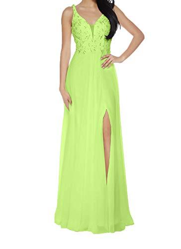 Kleider Damen Abendkleider Ballkleider A Jungendweihe Lemon Partykleider Langes Promkleider Linie Spitze Gruen Charmant FSx8pS