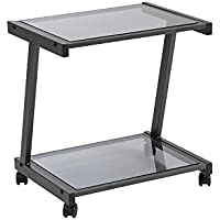 Euro Style L Smoked Glass Top Mobile Printer Cart, Graphite Black Steel Frame