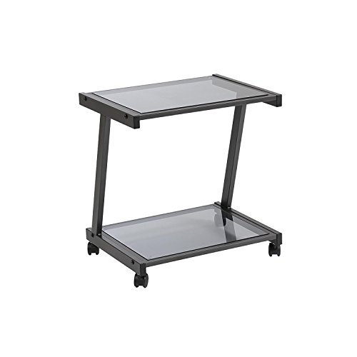 Euro Style L Smoked Glass Top Mobile Printer Cart, Graphite Black Steel Frame Review