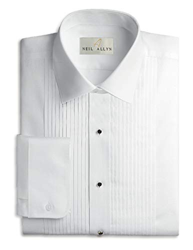 (Neil Allyn Mens Tuxedo Shirt Poly/Cotton Laydown Collar 1/4 Inch Pleat (15 X)