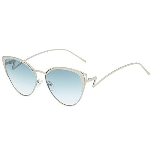 Price comparison product image Haluoo Oval Shape Sunglasses for Men Women,  Vintage Retro Style Metal Frame Sun Glasses Round Optical Eyewear Oversized Eyeglasses (Blue)