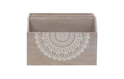 Shabby Chic by Designstyles Wooden Letter Holder - 3 Compartment Decorative Desk and Table Top Organizer for Files, Documents, and More - Solid Wood, White Washed with Stylish Pattern