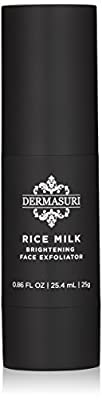 DERMASURI Rice Milk Brightening Face Exfoliator, a deep exfoliating face scrub and gommage peel
