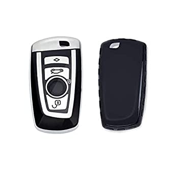 GUANGGU for BMW Key Fob Cover Full Protection Soft TPU Key Fob Case Compatible with BMW Keyless Remote Control Smart Key 1 3 4 5 6 7 Series and X3 X4 M2 M3 M4 M5 M6 Cover+Chain Red