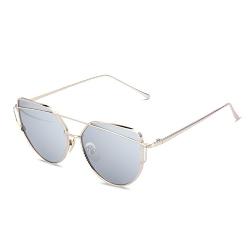 Price comparison product image YOOSUN Polarized Sunglasses for Womens Cat Eye Mirrored Flat Lenses UV400 P2074 (Gold,  Silvery)