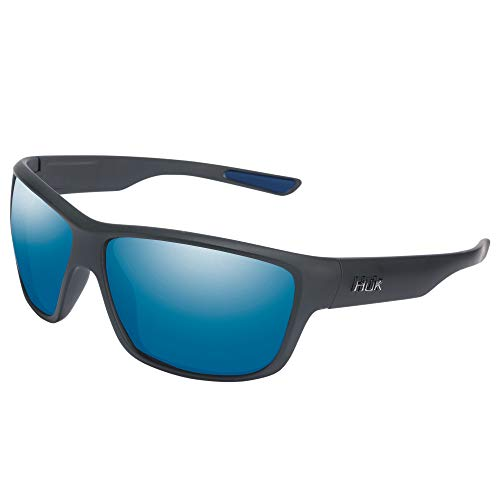 HUK Spar Sunglasses | Polarized Polycarbonate Lens | Performance Fishing Eyewear | Blue Mirror Lens | Matte Black