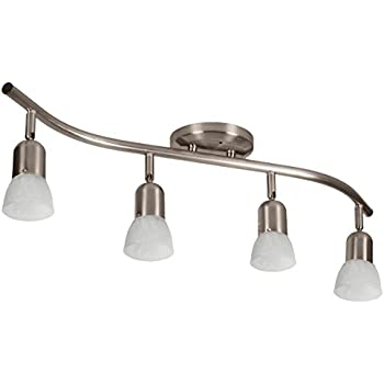 4 Globe Track Lighting Wall or Ceiling Mount Light Fixture, Brushed Nickel