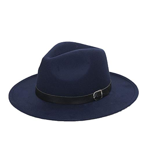 - Fedora Hats Plain Wool Felt with Solid and Belt Buckle Flat Brim Trilby Formal Dress Top Hat for Men Women