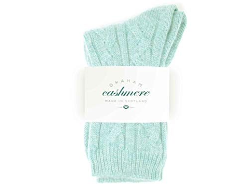 Graham Cashmere Women's Pure Scottish Cashmere Cable Bed Socks (One Size, Harris)