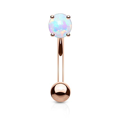 Inspiration Dezigns 16G Eyebrow Petite Belly Ring Syn White Opal Curved - Eyebrow Ring White