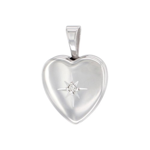 Sterling Silver Tiny Diamond Heart Locket Necklace, 18 inch