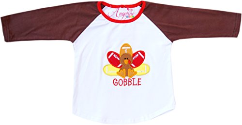 Angeline Boutique Clothing Thanksgiving Football Turkey Gobble Raglan T-Shirt 12-24M/XS