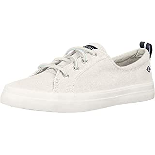 Sperry Womens Crest Vibe Linen Sneaker, White, 7