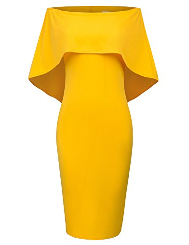 (GRACE KARIN Women's Sexy Off Shoulder Evening Dress Bodycon Club Dress Size L Yellow)