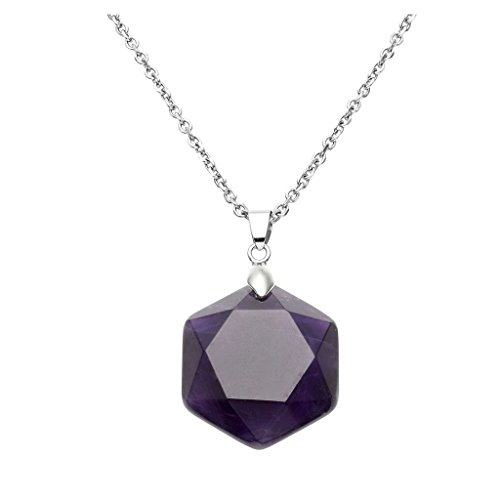 QGEM Amethyst Jewish Star of David Solomon Seal Gemstone Faceted Pendant Necklace, Unisex, 24