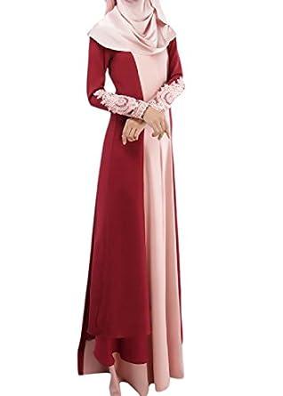 Zimaes Women's Long Sleeve Islamic Muslim Abaya Maxi Long Dress