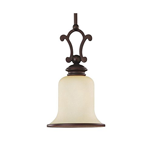 (Sea Gull Lighting 61145-814 Acadia One-Light Mini Pendant, Misted Bronze Finish with Champagne Seeded Glass)
