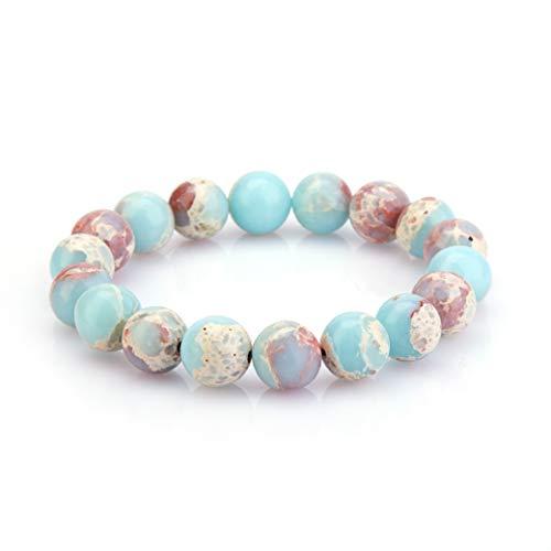 eletout Handmade 10mm Round Natural Semi PreciousGemstone Beaded Stretch Solid Color Bracelets (Sky Blue Serpentine)