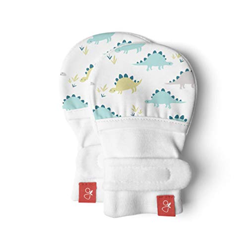 Goumimitts, Scratch Free Baby Mittens, Organic Soft Stay On Unisex Mittens, Stops Scratches and Prevents Germs (3-6 Months, Dino)