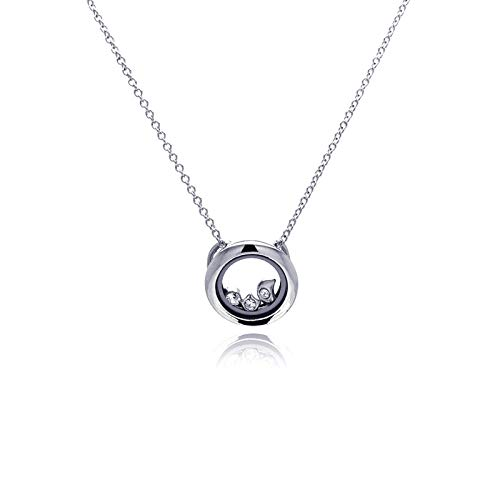 Aienid 925 Sterling Silver Rhodium Plated Circle Clr Crystal Accentuated Pendant Necklace for Women 18