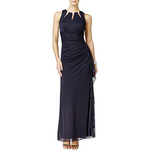 Betsy & Adam Womens Special Occasion Full-Length Evening Dress Navy 6 (Adam & Betsy Evening Gown)