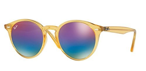 Ray-Ban Mens RB2180F Sunglasses Shiny Yellow / Green Mirror Blue Gradient Vio 49mm
