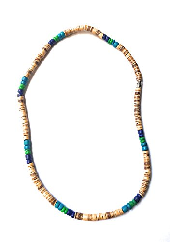- Hawaiian Surfer Style Wood Bead Necklace - Turquoise Color and Brown, 18 Inches