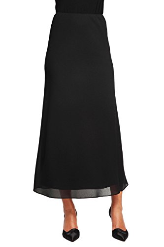 Alex Evenings Women's Chiffon Tea Length Skirt Various Styles (Petite Regular), Black Georgette A-Line, LP