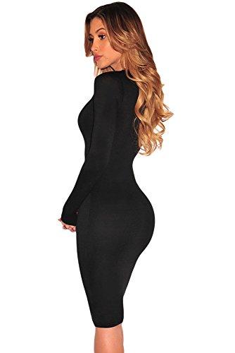 Señoras negro encaje arriba abierto parte delantera vestido Club Wear fiesta trabajo desgaste tamaño L UK 12UE 40