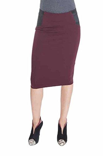 Esteez Ponte Pencil Skirt for Women Below Knee Skirt Charlotte Wine XX-Large