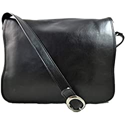 Bolso messenger de piel bandolera de cuero bolso cartero bolso de hombre piel cartera de cuero bolso de espalda maletin de piel negro