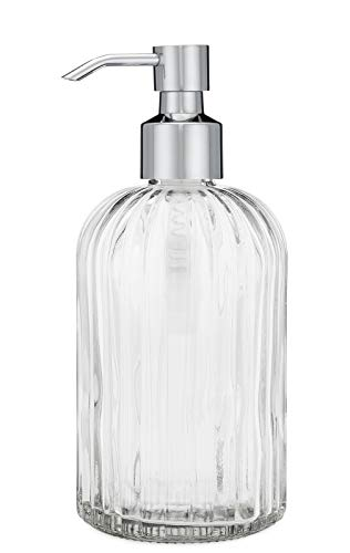 Rail19 Fluted Glass Nouveau Soap Dispenser with Metal Soap Pump for The Kitchen and Bathroom Great for Lotions and Liquid Hand Soaps (Chrome Cali)
