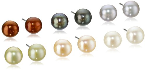 Button Pearl Set (Sterling Silver Set of Six 7-8mm Multicolored Freshwater Cultured Pearl Button Stud Earrings)