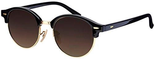 La Optica B.L.M. Unisex Sonnenbrille UV400 CAT 3 Gold Rund - Farben, Verspiegelt