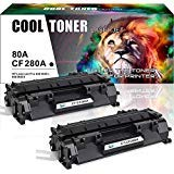 Cool Toner 2Packs Compatible for HP 80A CF280A 80X CF280X Toner Cartridge for HP Laserjet Pro 400 M401A M401D M401N M401DN M401DNE M401DW HP Laserjet Pro 400 MFP M425DN Laser Ink Printer Black (Hp 80a Black Original Laserjet Toner Cartridge)
