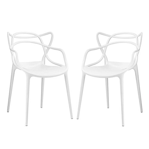Modway Entangled Modern Molded Plastic Two Kitchen and Dining Room Arm Chairs in White – Fully Assembled