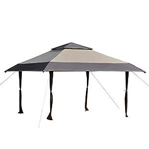 Outsunny Cenador Plegable 4×4 m Carpa de jardín con Doble Techo Altura Ajustable con Bolsa de Transporte de Acero Tela Oxford Protección UV para Fiestas Bodas Caqui y Café