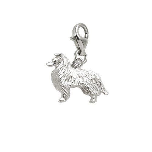 Rembrandt Charms Collie Charm with Lobster Clasp, 14k White Gold