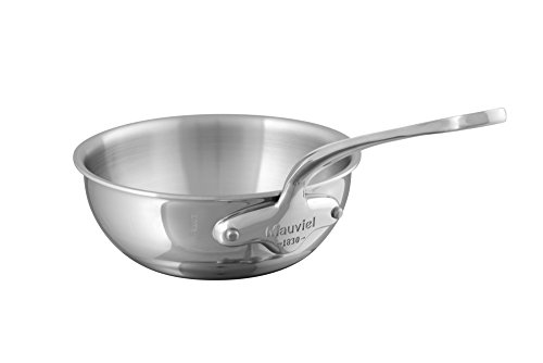 Mauviel 5212.2 M Cook 20CM CAST SS HDL 2.6MM Curved splayed Saute pan, 20″, Stainless Steel Review