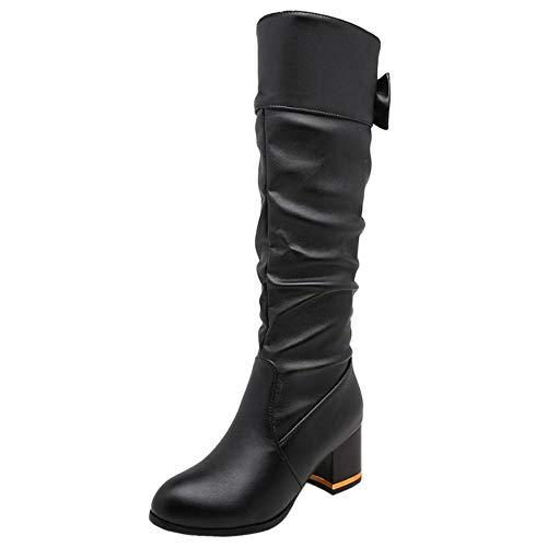 Chaussures Genou Slouchy Classiques Hauts Talons Femmes Noir Taoffen Bottes FnxY7w5v