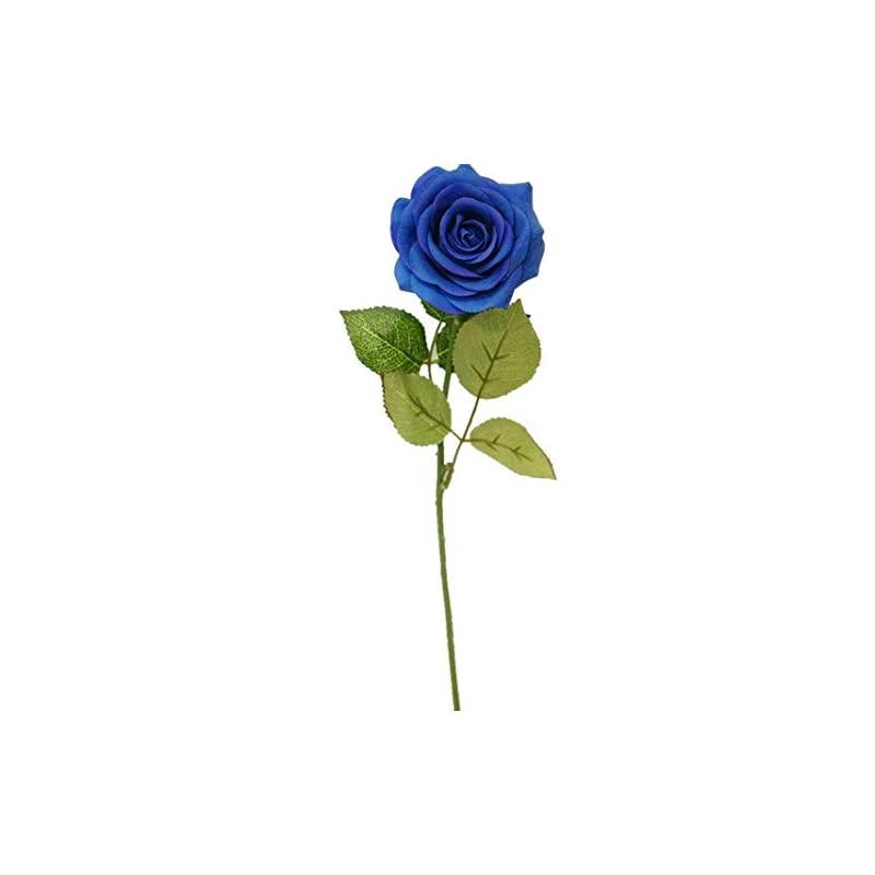 silk flower arrangements sweet home deco 17'' real touch rose artificial single spray set of 2 (blue)