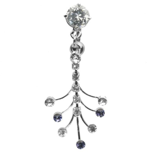 """14g 3/8"""" Clear Gem Curved Barbell With Fanned Gem Dangles"""