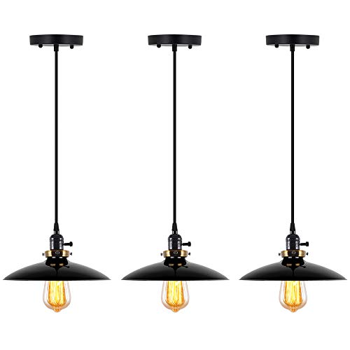 (T&A UFO Industrial Pendant Lights Edison Vintage Style,3 Light Kitchen Antique Brass Hanging Lighting Fixture(Black))